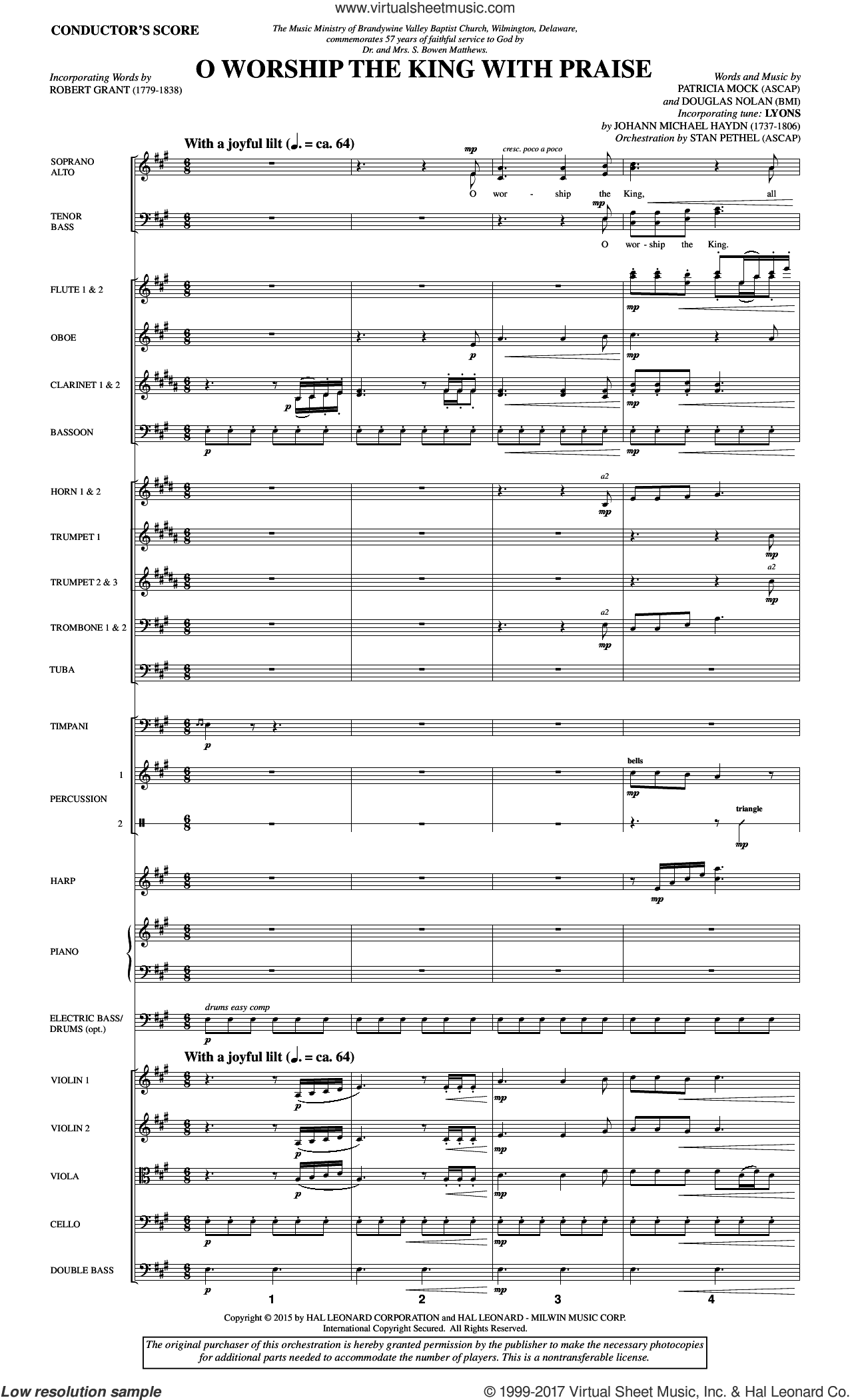 O Worship the King with Praise (COMPLETE) sheet music for orchestra/band by Douglas Nolan and Patricia Mock, intermediate. Score Image Preview.