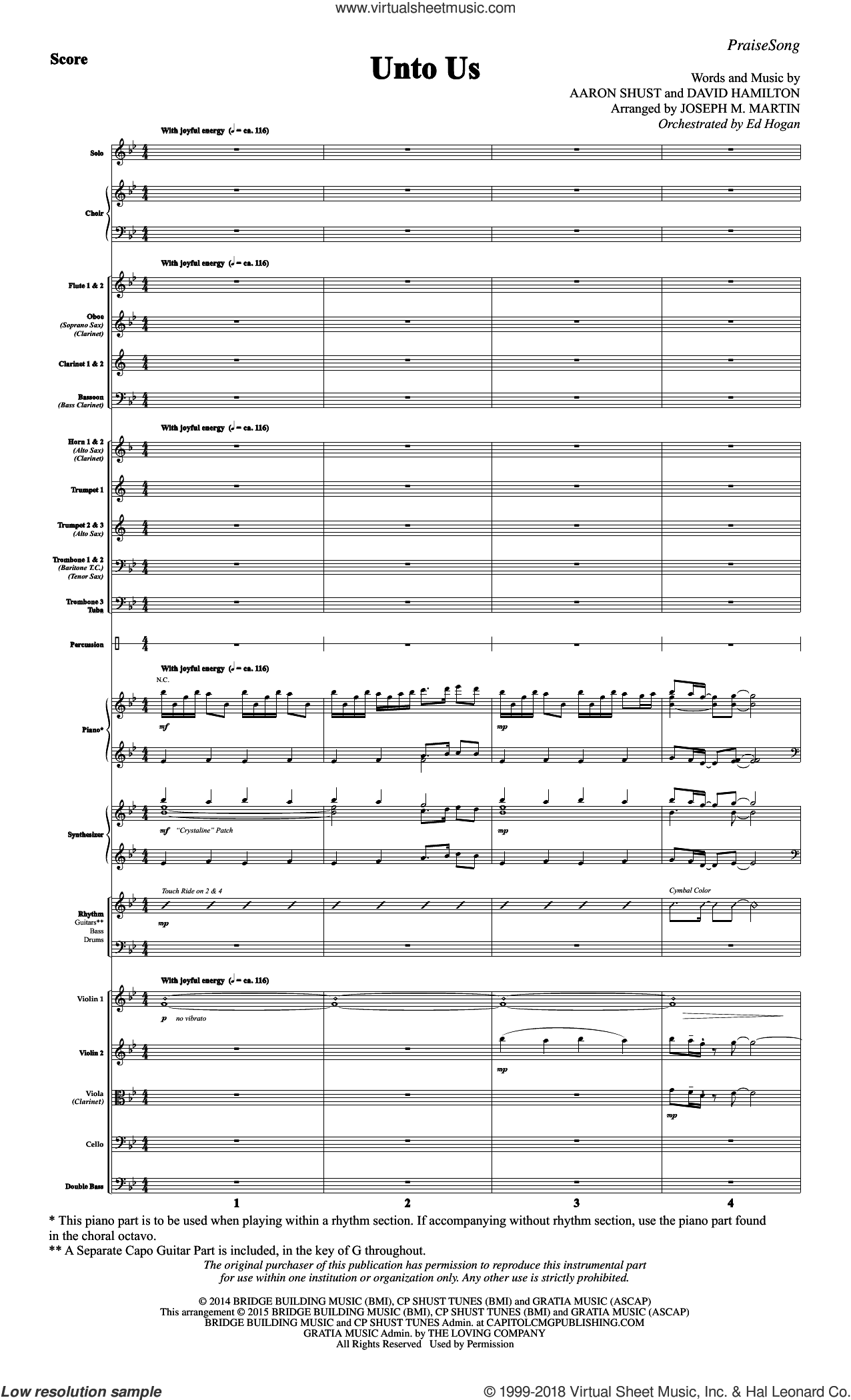 Unto Us (COMPLETE) sheet music for orchestra/band by Joseph Martin, Aaron Shust and Joseph M. Martin, intermediate. Score Image Preview.