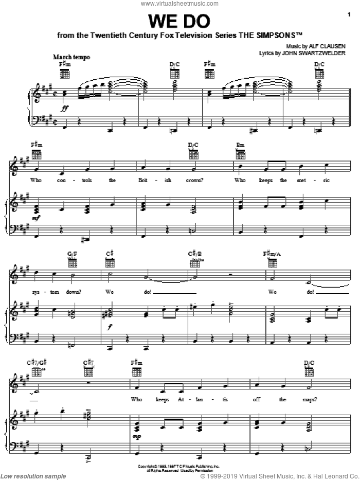We Do sheet music for voice, piano or guitar by John Swartzwelder and Alf Clausen. Score Image Preview.