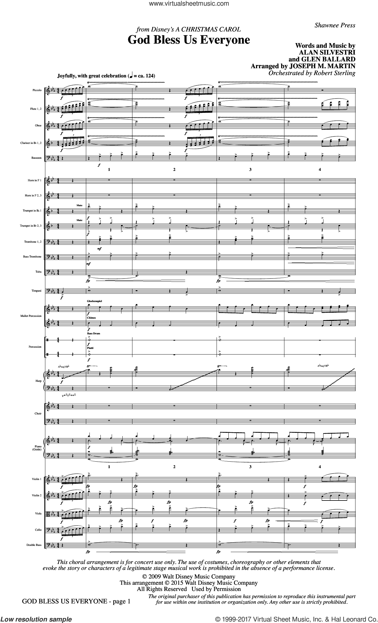 God Bless Us Everyone (from Disney's A Christmas Carol) (COMPLETE) sheet music for orchestra/band by Joseph M. Martin, Alan Silvestri, Andrea Bocelli and Glen Ballard, intermediate