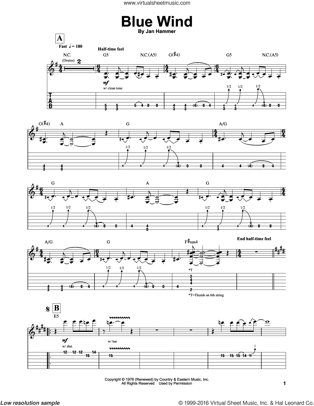 Blue Wind sheet music for guitar (tablature, play-along) by Jan Hammer and Jeff Beck. Score Image Preview.