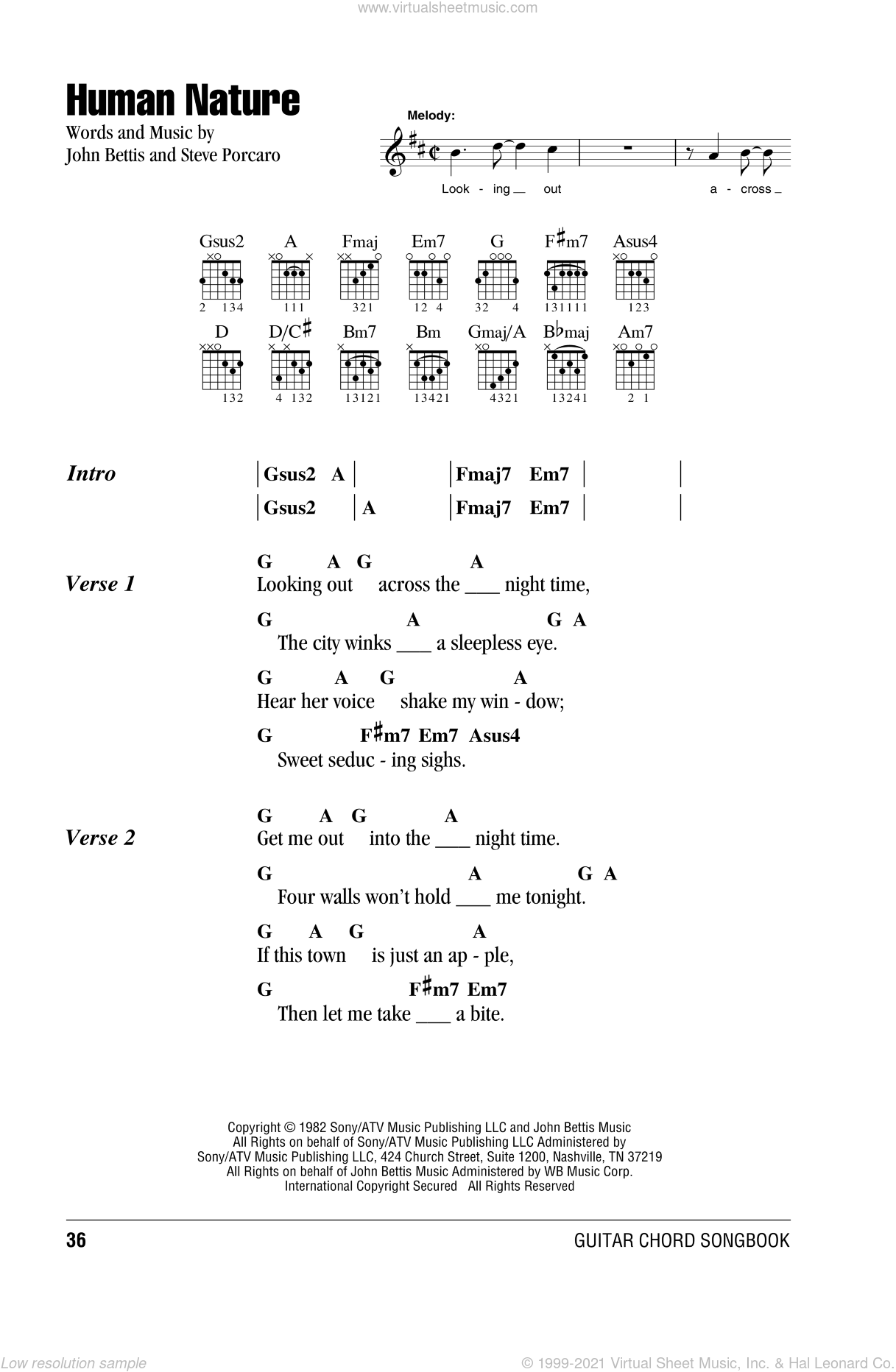 Human Nature sheet music for guitar (chords) by Steve Porcaro, Michael Jackson and John Bettis. Score Image Preview.