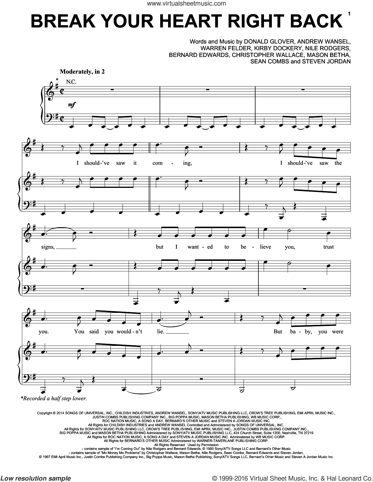 Break Your Heart Right Back sheet music for voice, piano or guitar by Ariana Grande, Andrew Wansel, Bernard Edwards, Christopher Wallace, Donald Glover, Kirby Dockery, Mason Betha, Nile Rodgers, Sean Combs, Steve Jordan and Warren Felder, intermediate skill level