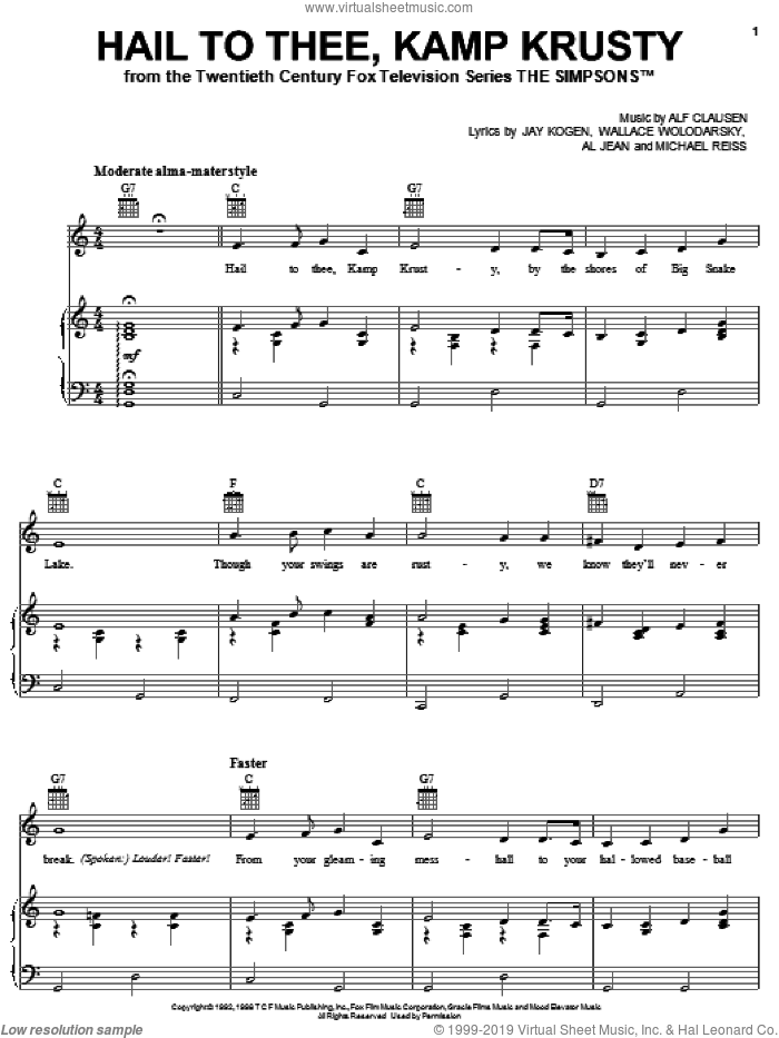 Hail To Thee, Kamp Krusty sheet music for voice, piano or guitar by The Simpsons, Al Jean, Alf Clausen, Jay Kogen, Michael Reiss and Wallace Wolodarsky, intermediate skill level
