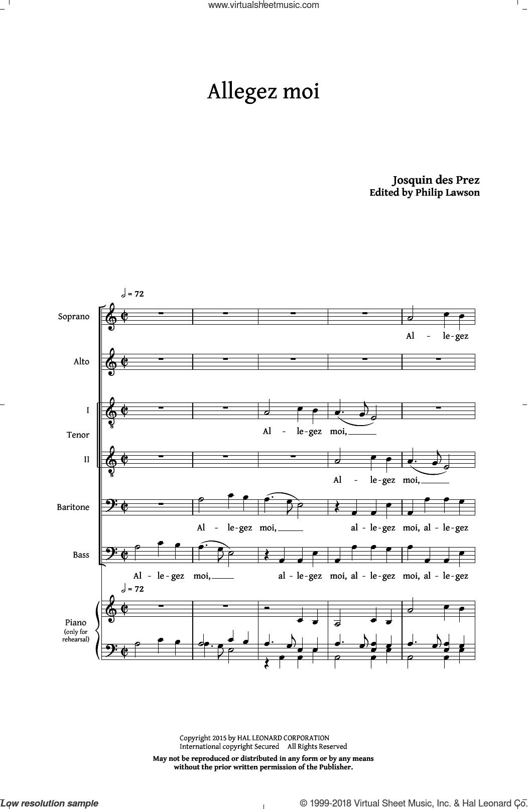 Allegez Moi sheet music for choir and piano (SATB) by Philip Lawson, Josquin des Prez and Josquin Des Pres. Score Image Preview.