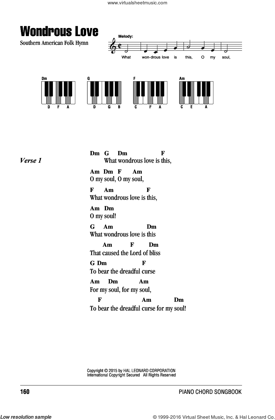 Wondrous Love sheet music for piano solo (chords, lyrics, melody), intermediate piano (chords, lyrics, melody)