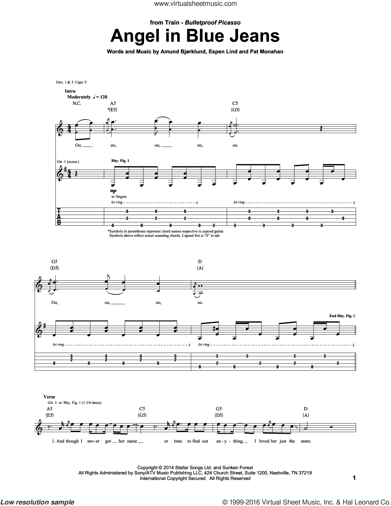 Angel In Blue Jeans sheet music for guitar (tablature) by Train and Pat Monahan. Score Image Preview.