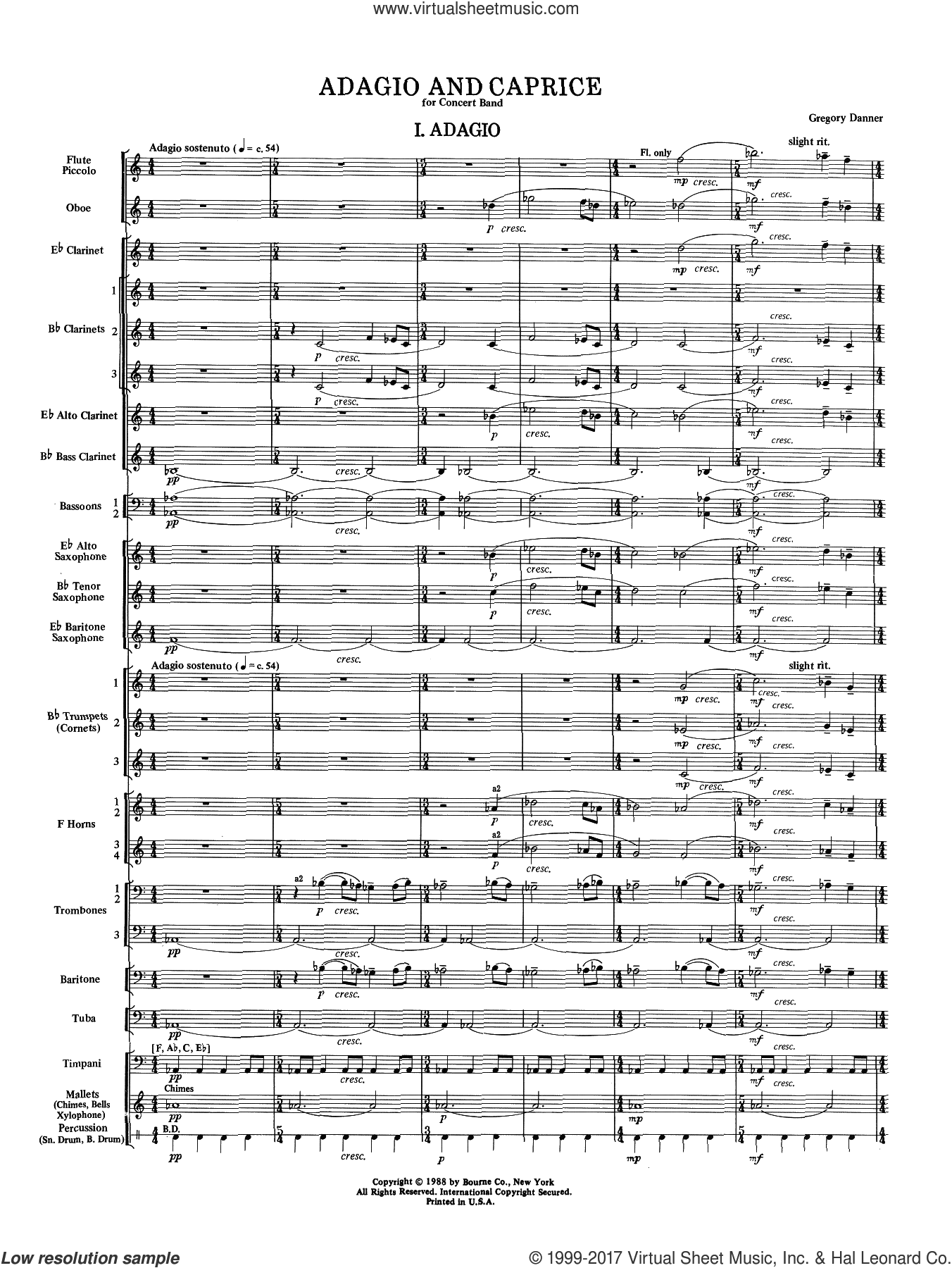 Adagio and Caprice (COMPLETE) sheet music for concert band by Gregory Danner, intermediate skill level