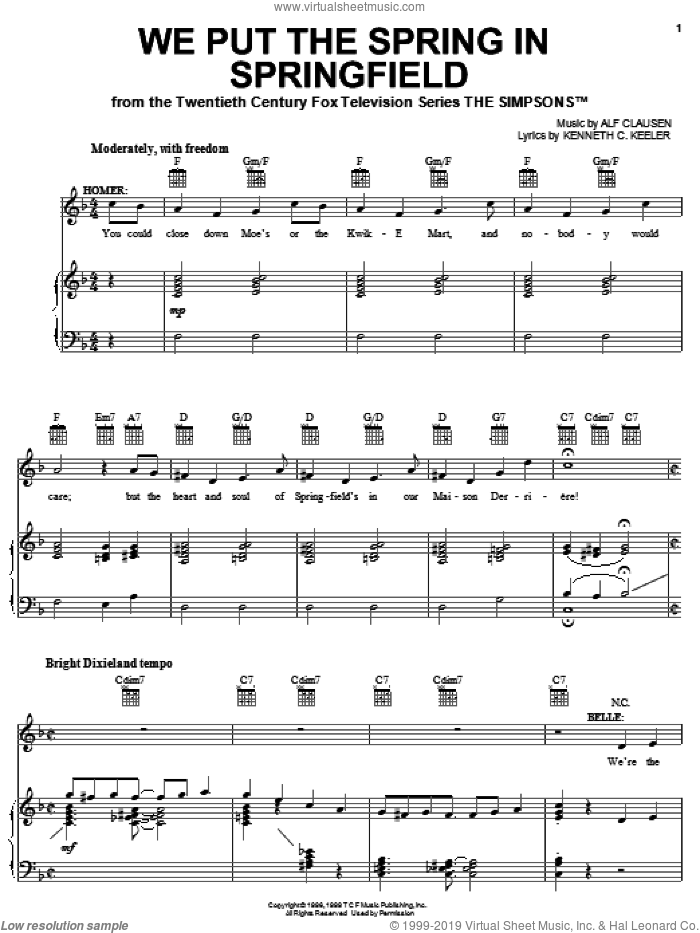 We Put The Spring In Springfield sheet music for voice, piano or guitar by The Simpsons, Alf Clausen and Kenneth C. Keeler, intermediate skill level