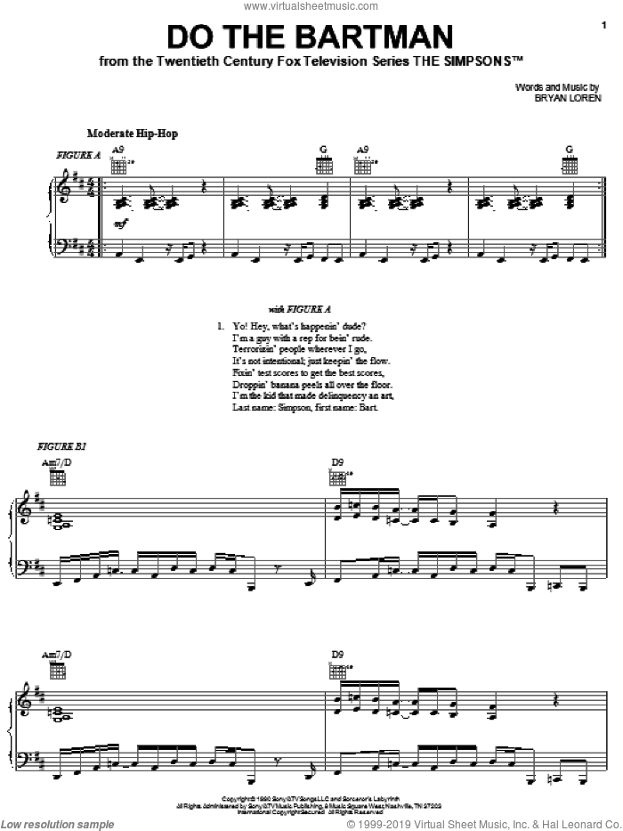 Do The Bartman sheet music for voice, piano or guitar by Bryan Loren
