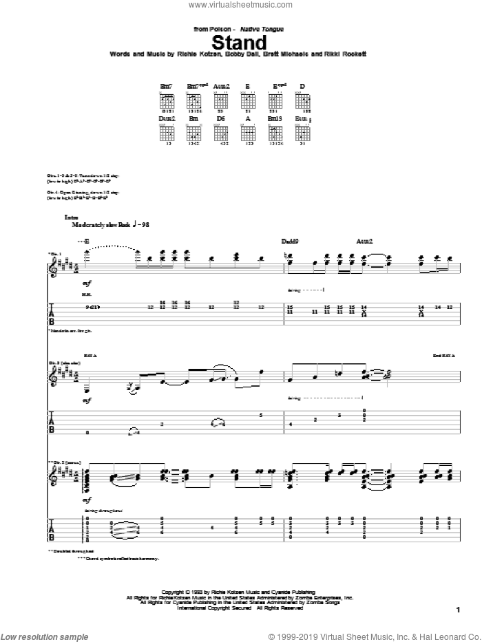 Stand sheet music for guitar (tablature) by Rikki Rockett, Poison and Bobby Dall. Score Image Preview.