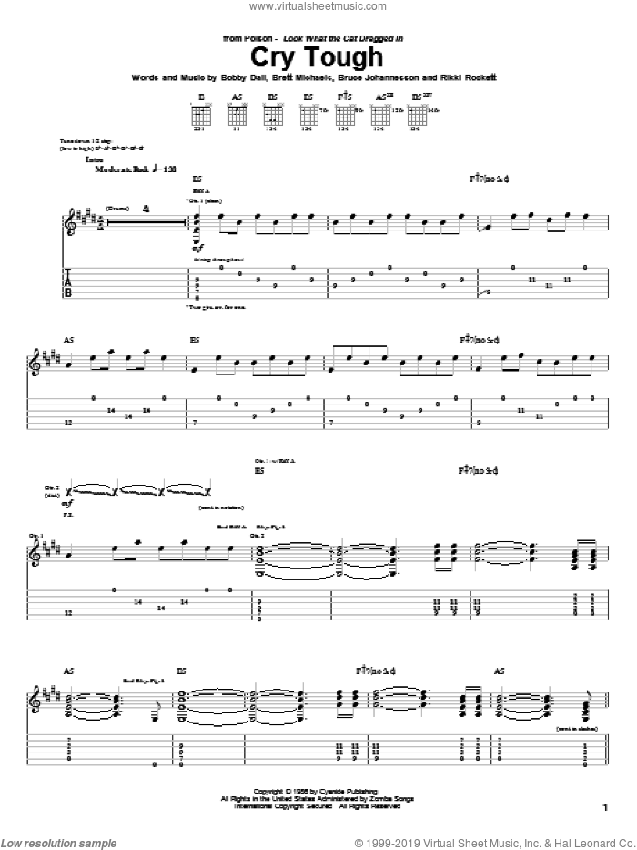 Cry Tough sheet music for guitar (tablature) by Poison. Score Image Preview.