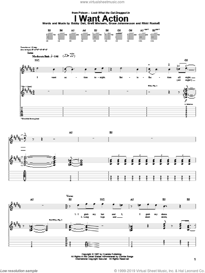 I Want Action sheet music for guitar (tablature) by Poison, intermediate. Score Image Preview.