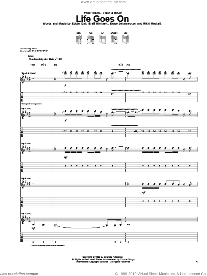 Life Goes On sheet music for guitar (tablature) by Rikki Rockett, Poison and Bobby Dall. Score Image Preview.
