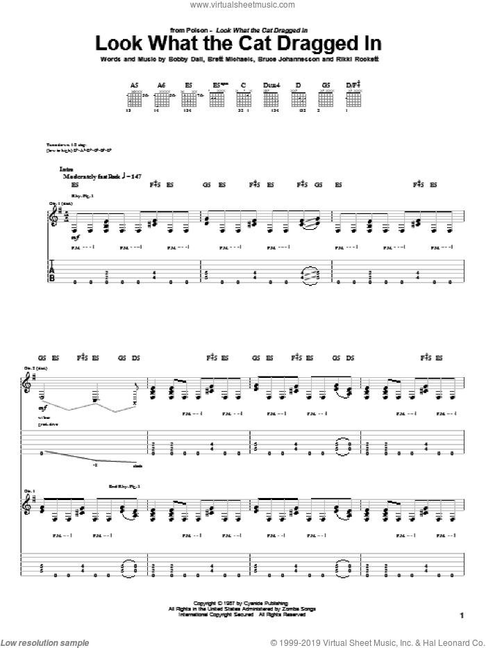 Look What The Cat Dragged In sheet music for guitar (tablature) by Poison, Bobby Dall, Brett Michaels, Bruce Johannesson and Rikki Rockett, intermediate skill level