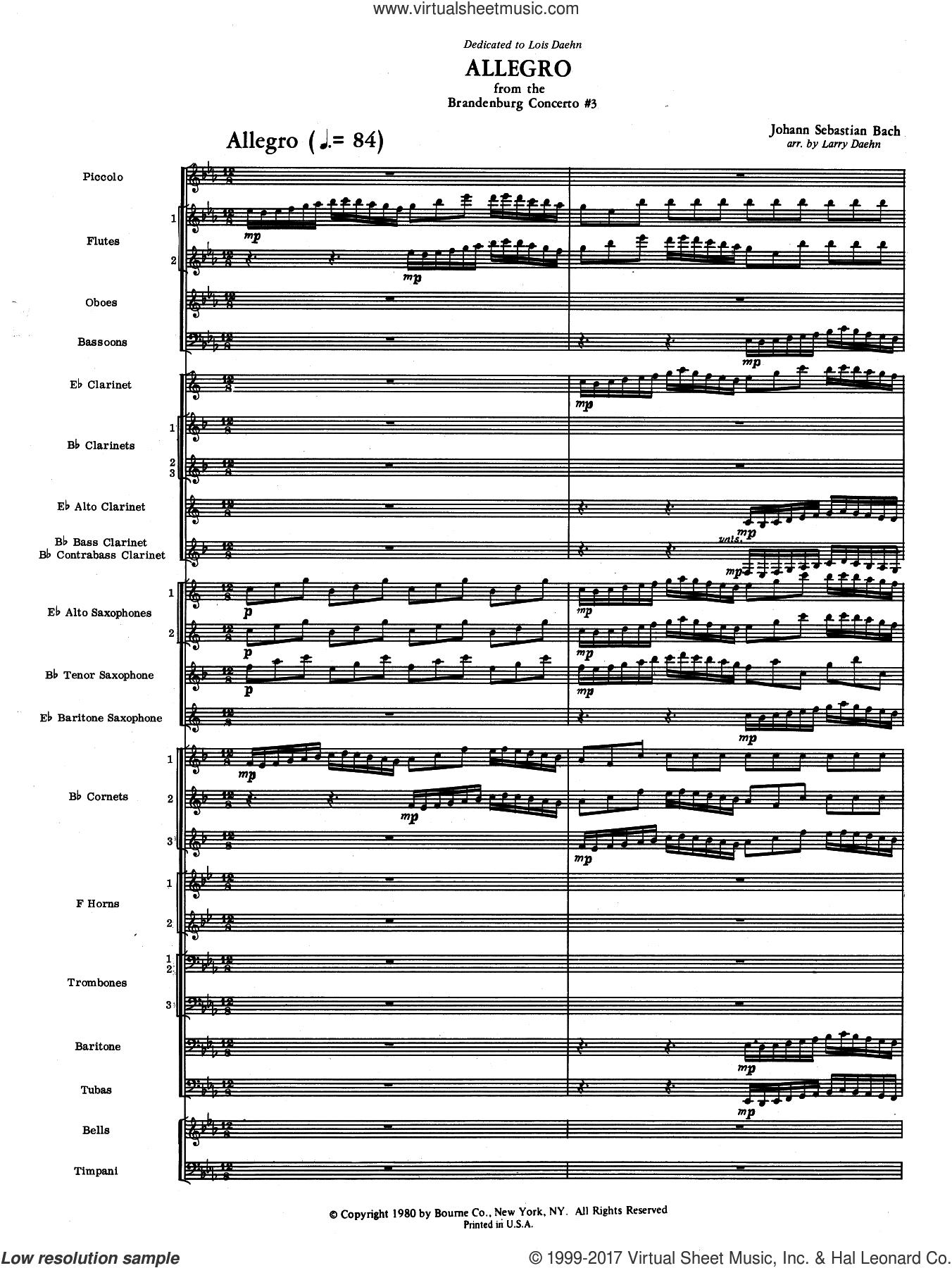 Allegro from Brandenburg Concerto No. 3 (COMPLETE) sheet music for concert band by Johann Sebastian Bach and Larry Daehn, intermediate skill level