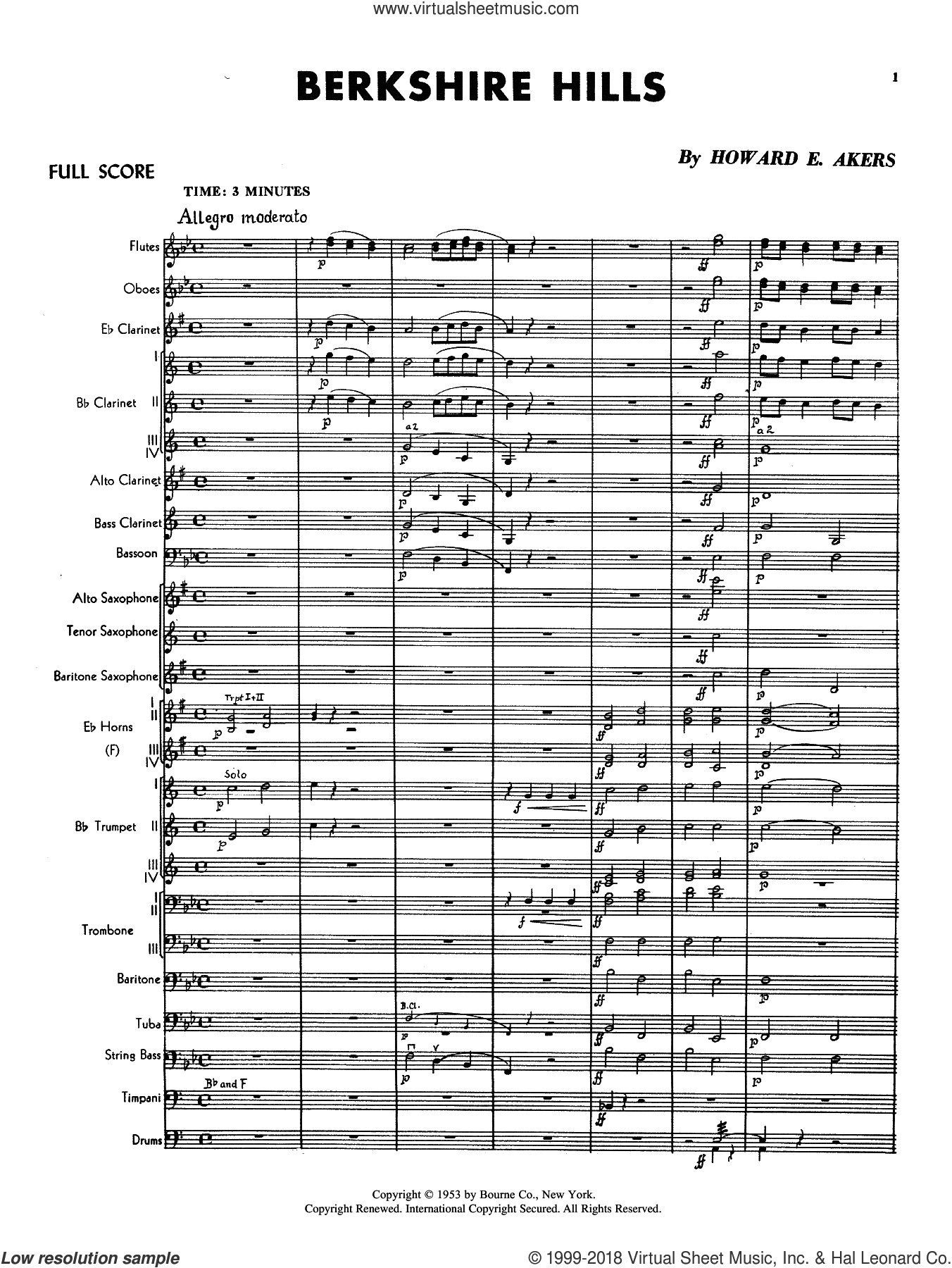Berkshire Hills (COMPLETE) sheet music for concert band by Howard E. Akers, intermediate skill level