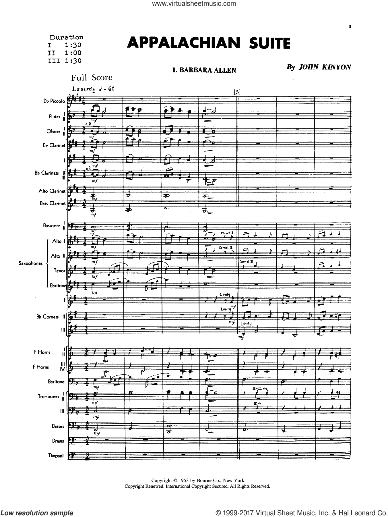 Appalachian Suite (COMPLETE) sheet music for concert band by John Kinyon, intermediate skill level