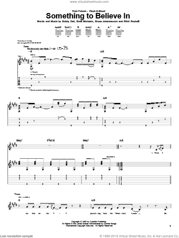 Something To Believe In sheet music for guitar (tablature) by Rikki Rockett, Poison and Bobby Dall. Score Image Preview.