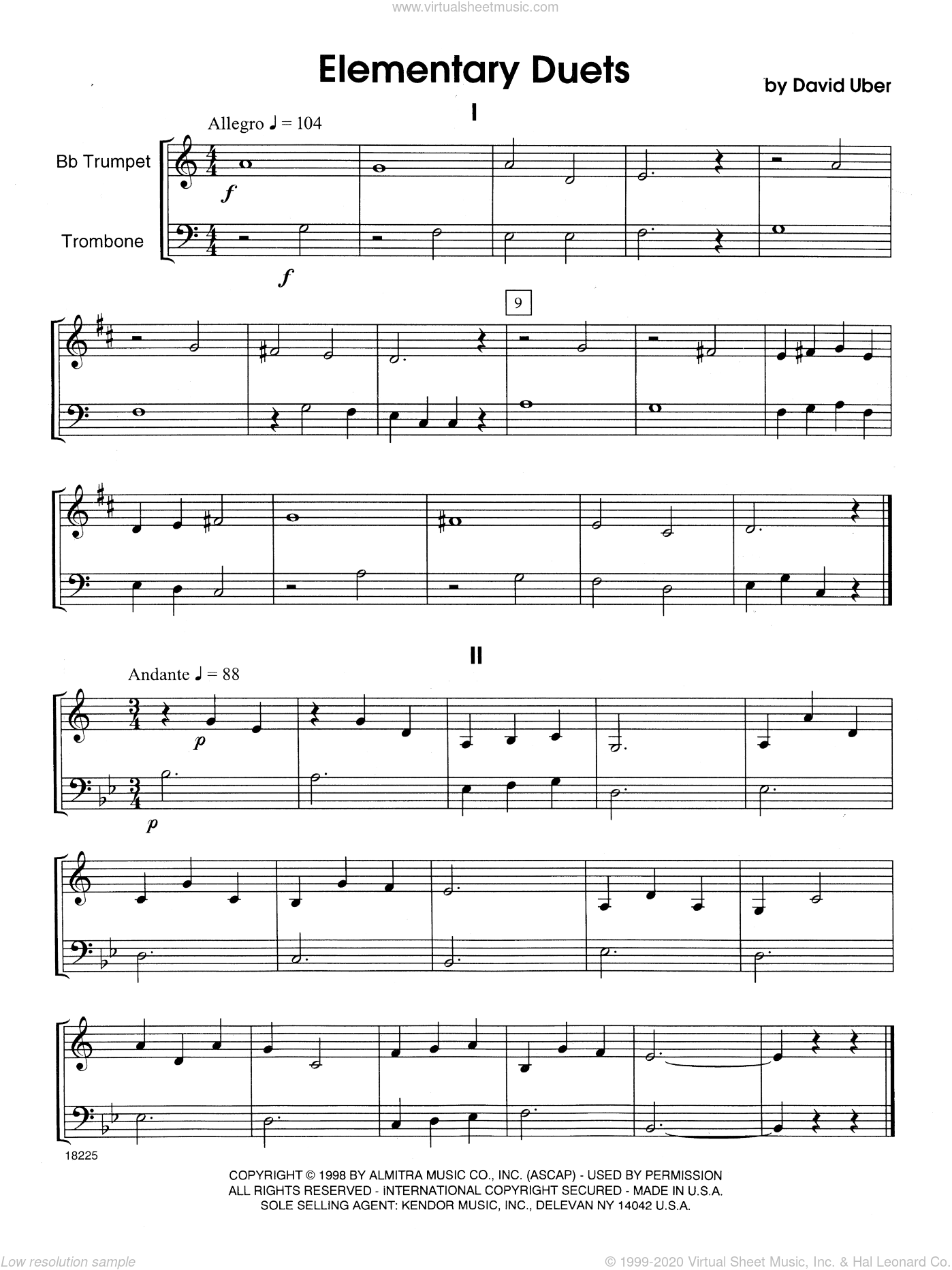 Elementary Duets sheet music for trumpet and trombone by David Uber, beginner duet