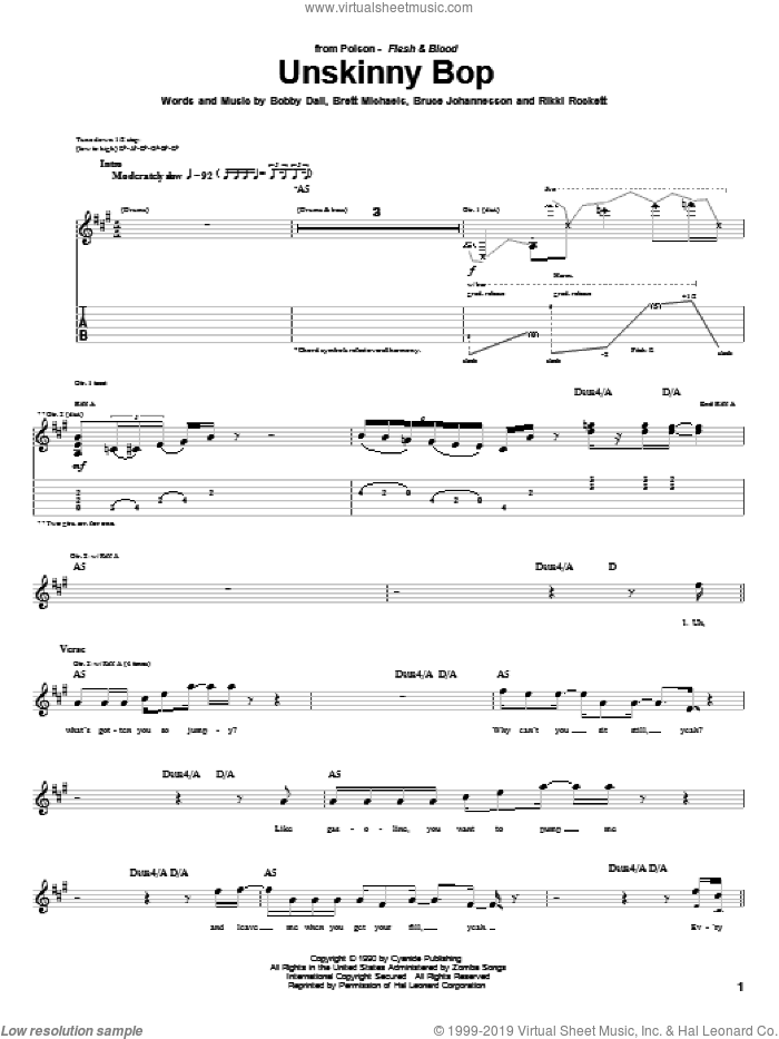 Unskinny Bop sheet music for guitar (tablature) by Poison. Score Image Preview.