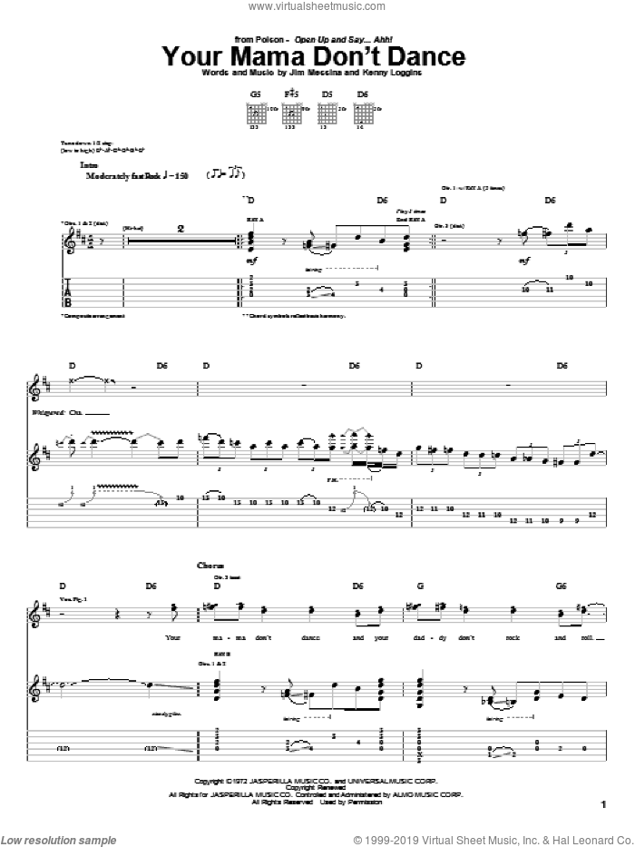 Your Mama Don't Dance sheet music for guitar (tablature) by Poison, Loggins And Messina, Jim Messina and Kenny Loggins, intermediate skill level