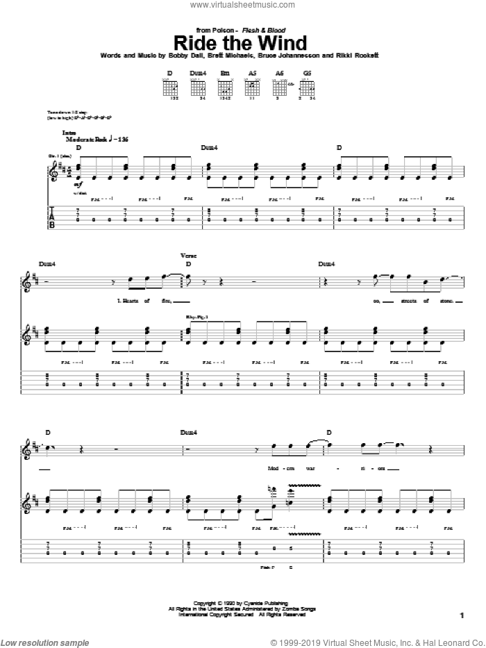 Ride The Wind sheet music for guitar (tablature) by Rikki Rockett, Poison and Bobby Dall. Score Image Preview.
