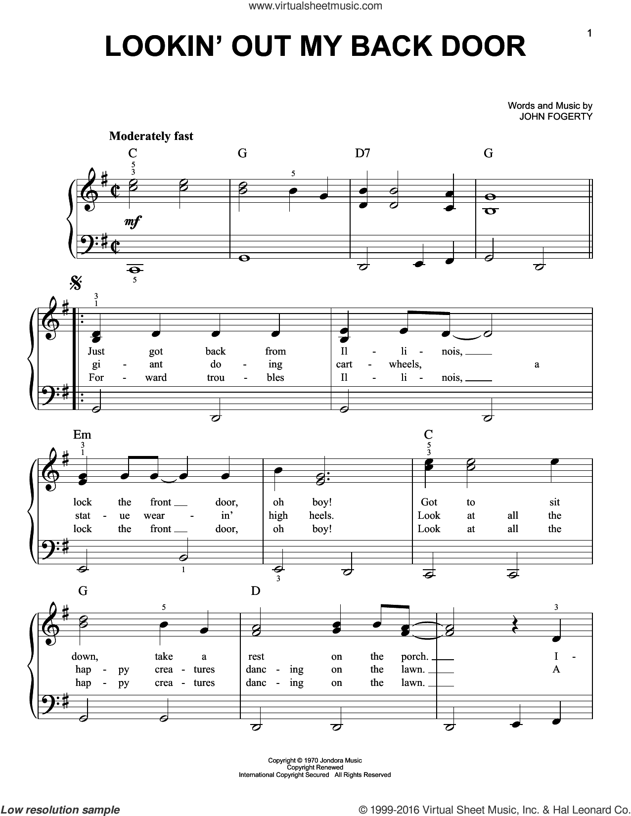 Lookin' Out My Back Door sheet music for piano solo by Creedence Clearwater Revival and John Fogerty, easy. Score Image Preview.