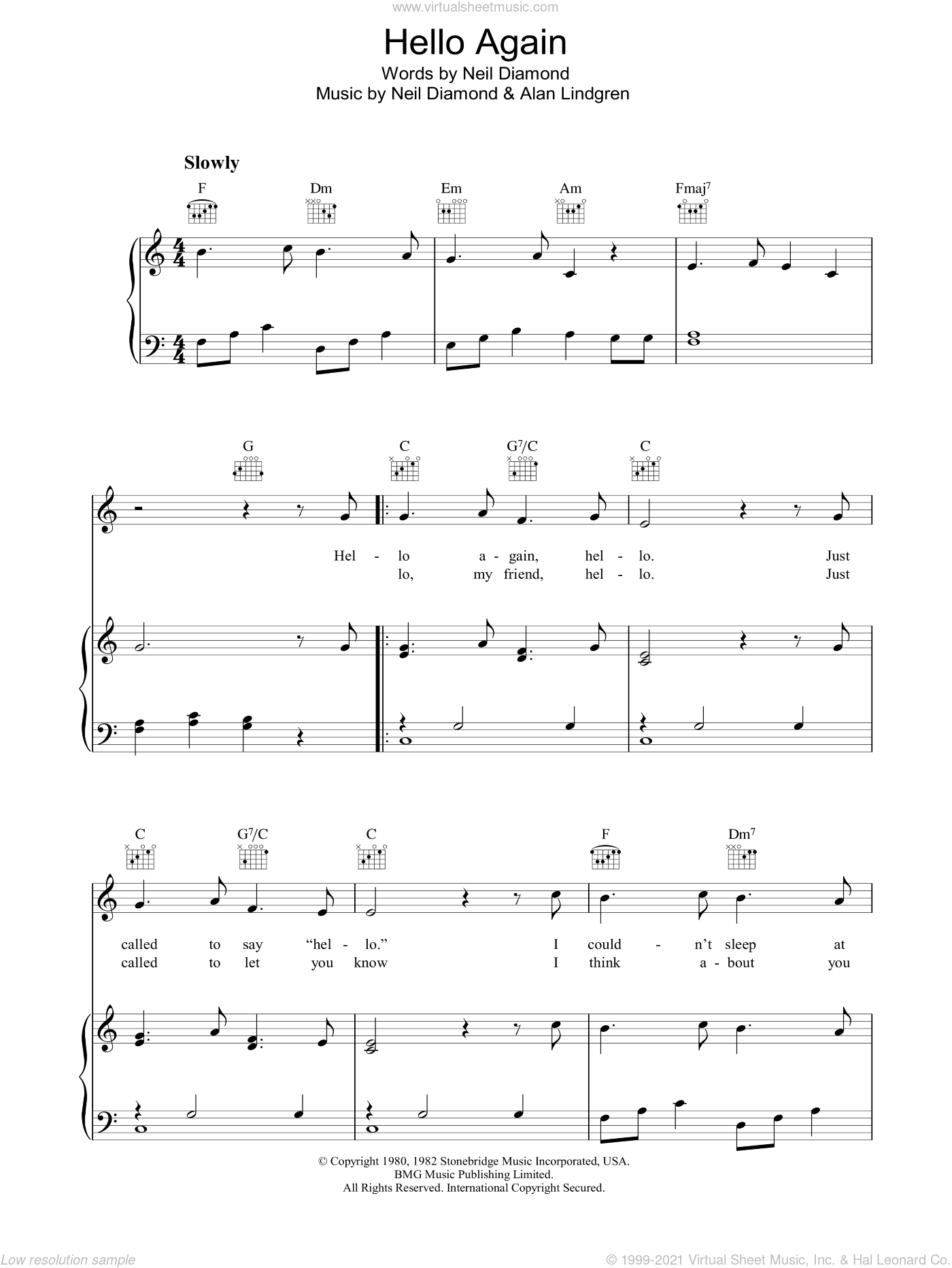 Hello Again sheet music for voice, piano or guitar by Alan Lindgren and Neil Diamond. Score Image Preview.