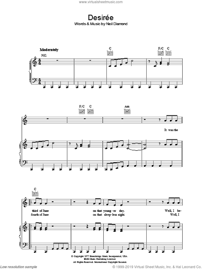 Desiree sheet music for voice, piano or guitar by Neil Diamond, intermediate skill level