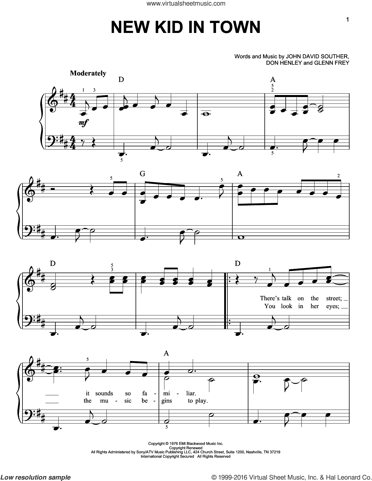 New Kid In Town sheet music for piano solo by John David Souther, Eagles, Don Henley and Glenn Frey. Score Image Preview.