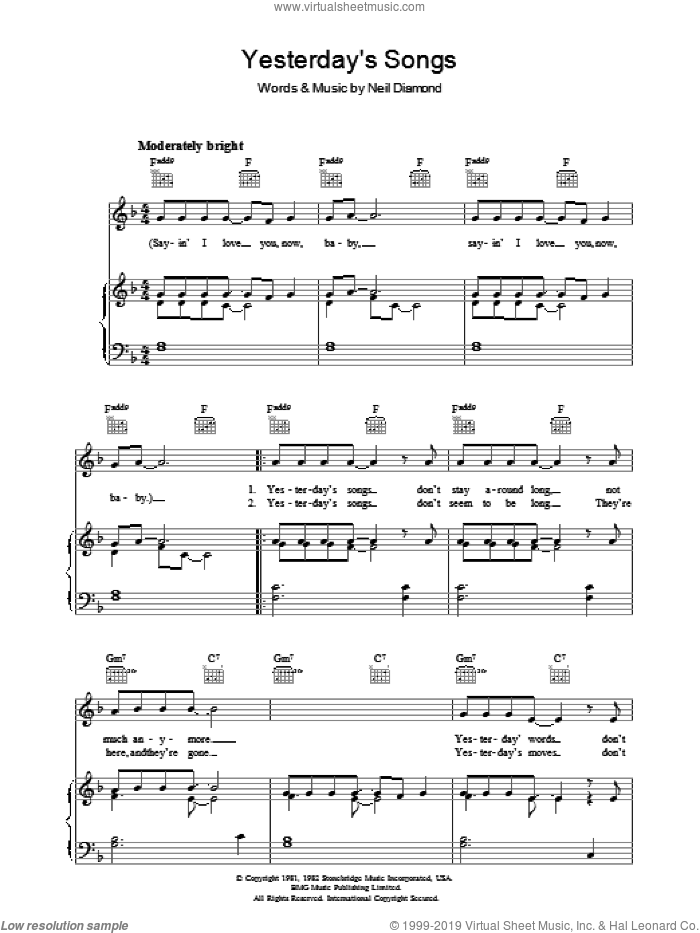 Yesterday's Songs sheet music for voice, piano or guitar by Neil Diamond