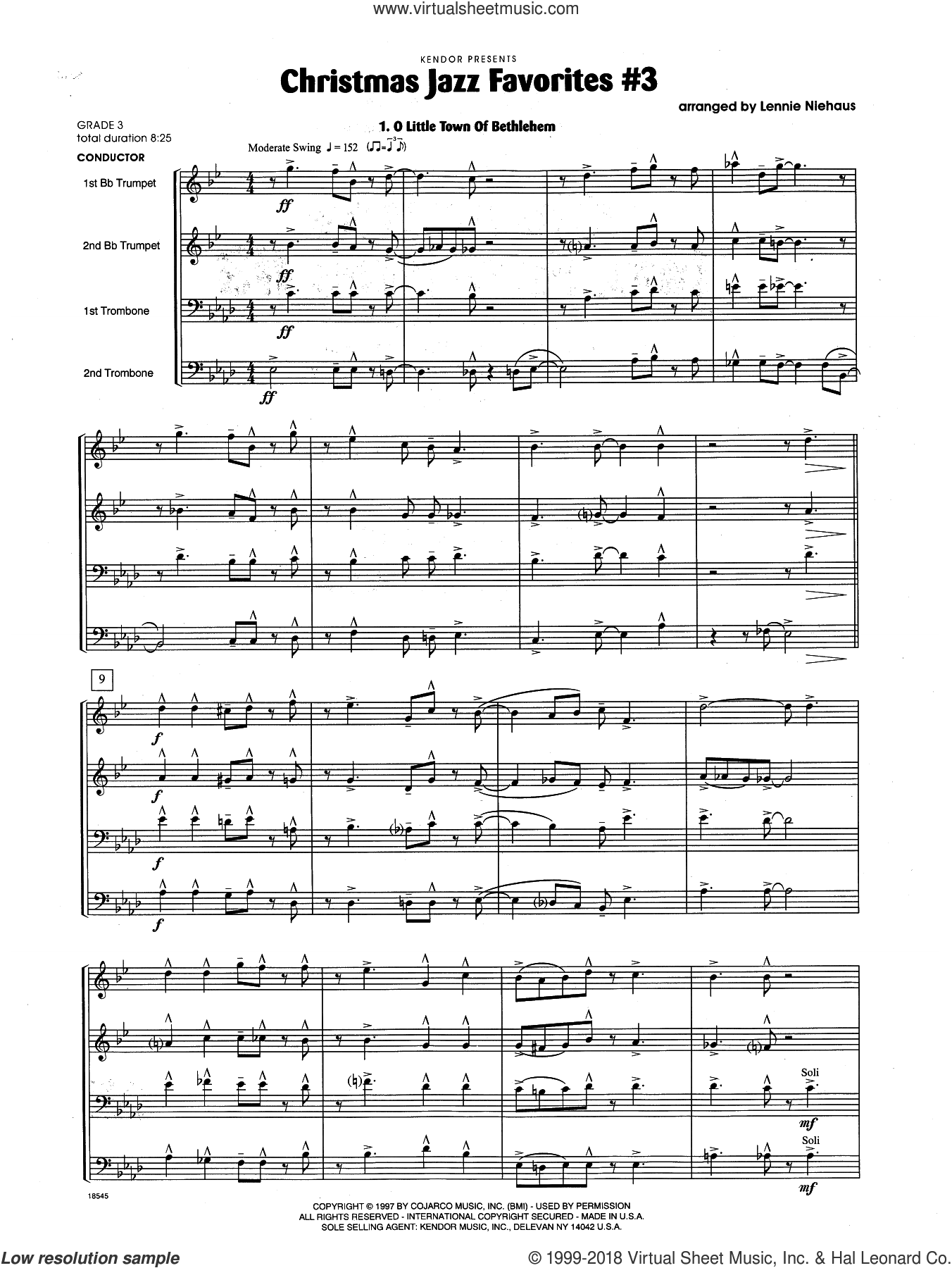 Christmas Jazz Favorites #3 (COMPLETE) sheet music for brass quartet by Lennie Niehaus, intermediate skill level