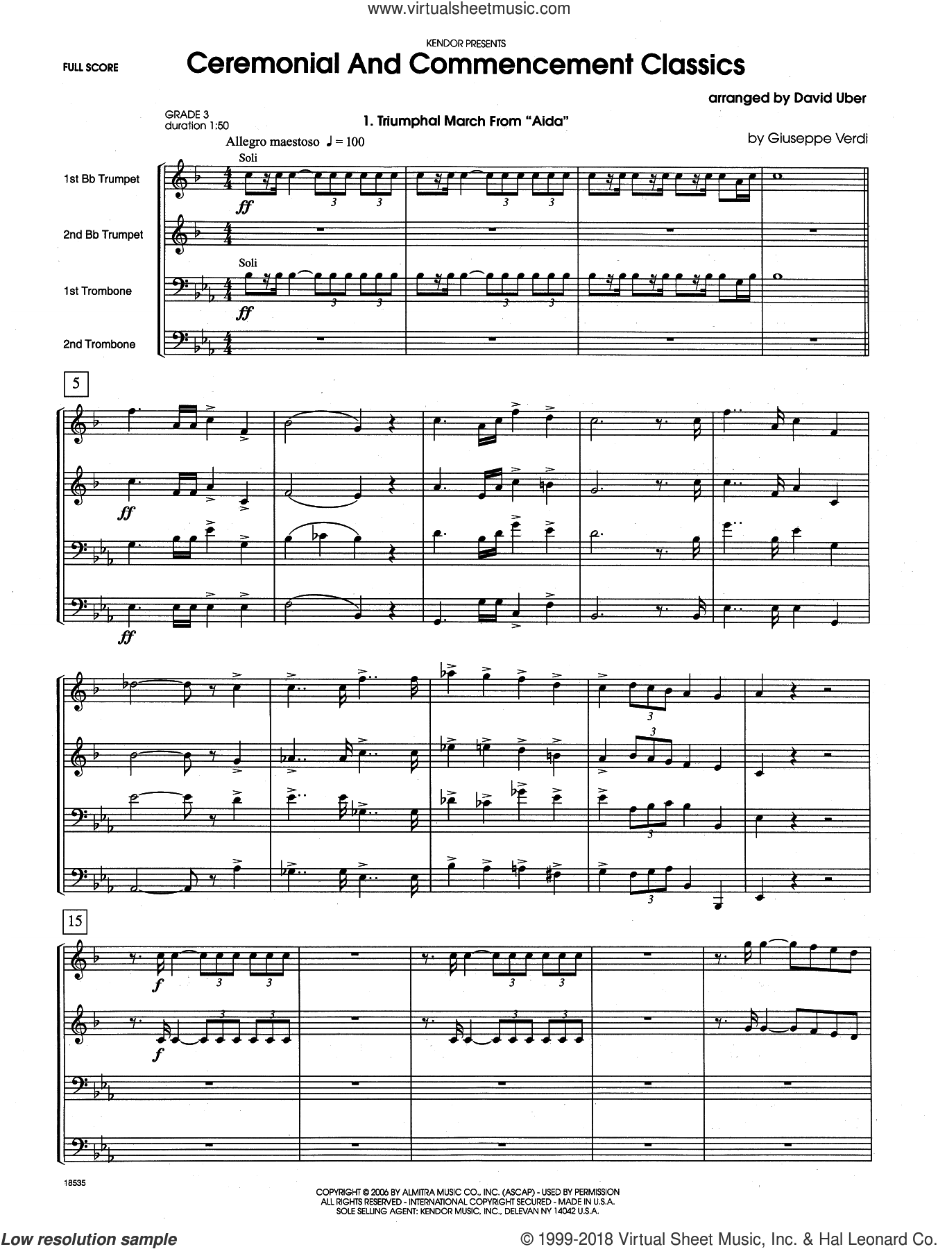 Ceremonial And Commencement Classics (COMPLETE) sheet music for brass quartet by David Uber, intermediate. Score Image Preview.