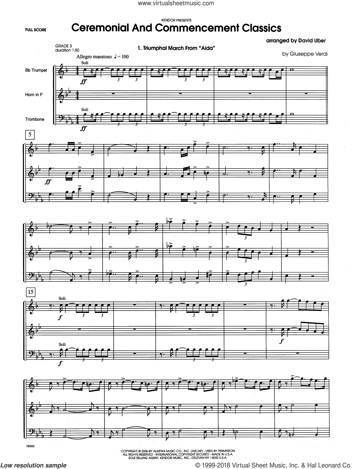 Ceremonial And Commencement Classics (COMPLETE) sheet music for brass trio by David Uber, intermediate brass trio. Score Image Preview.