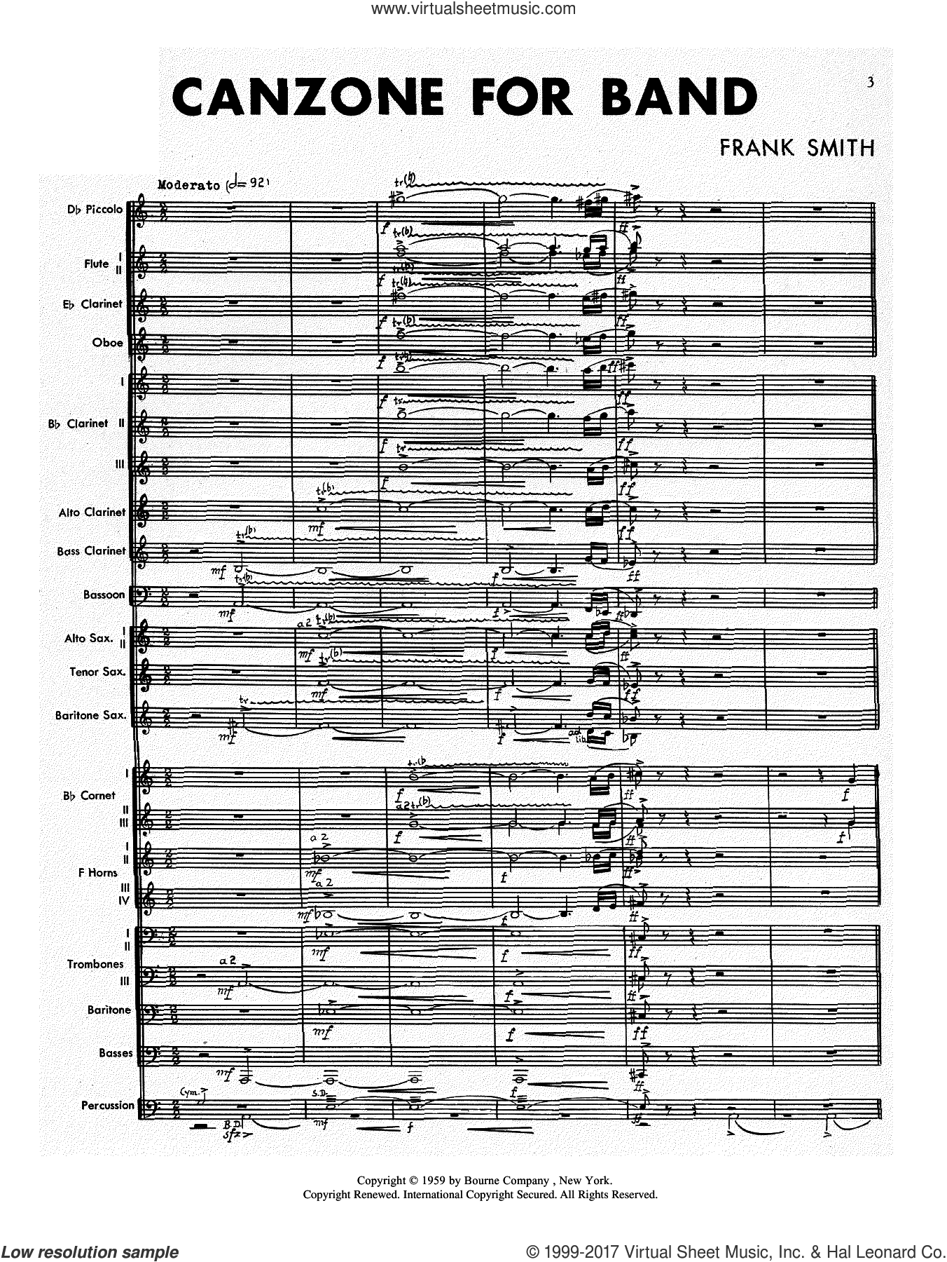 Canzone For Band (COMPLETE) sheet music for concert band by Frank Smith, intermediate. Score Image Preview.