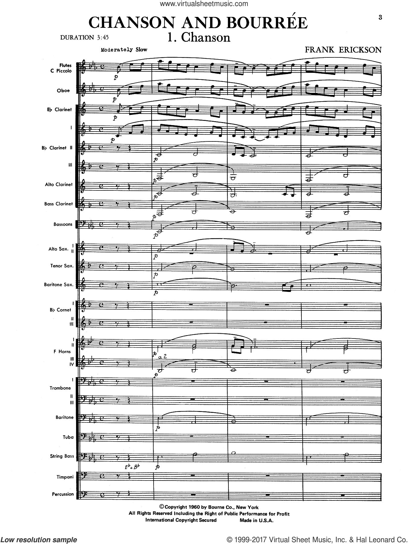 Chanson And Bourree (COMPLETE) sheet music for concert band by Frank Erickson, intermediate. Score Image Preview.