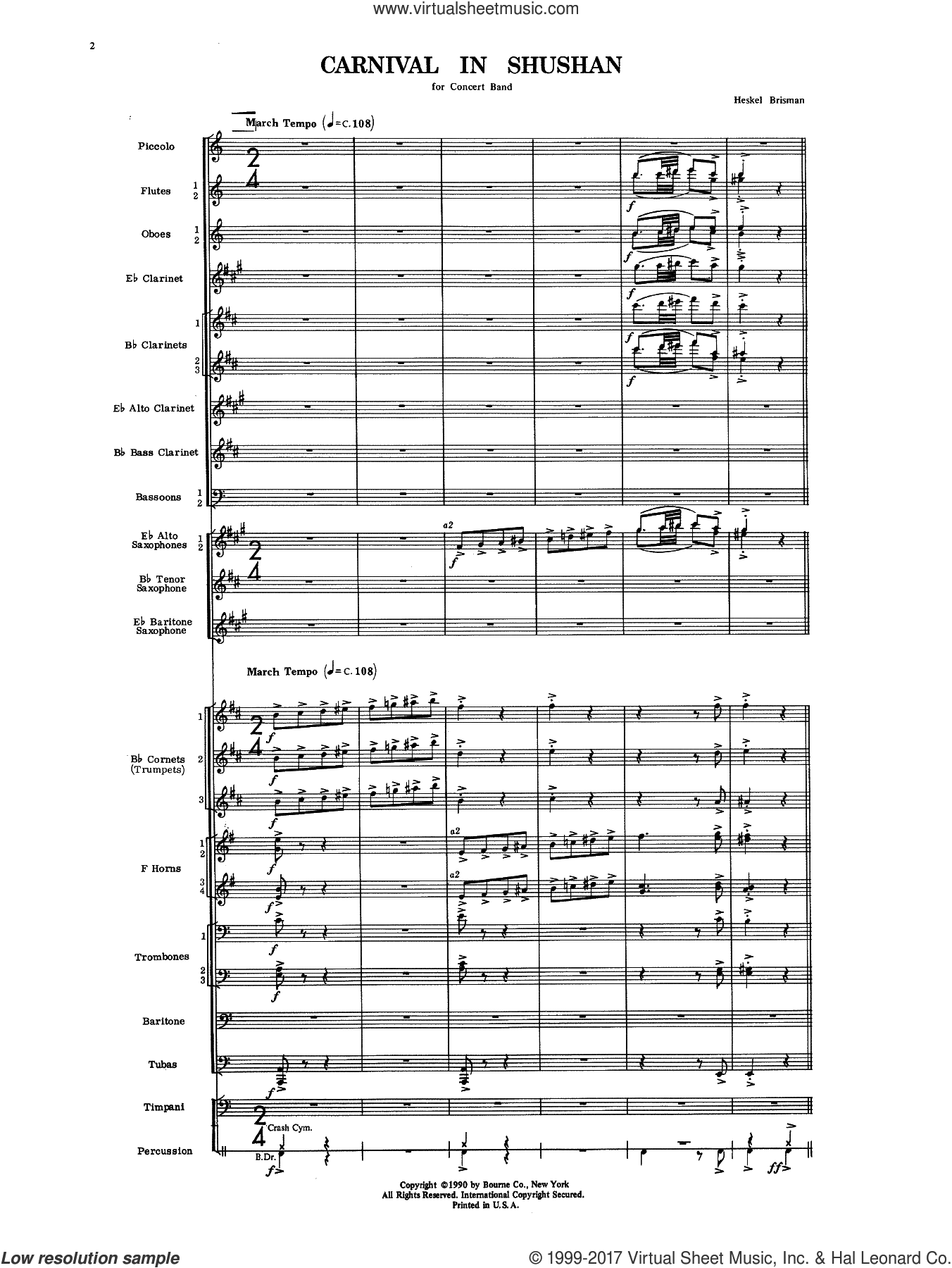 Carnival In Shushan (COMPLETE) sheet music for concert band by Heskel Brisman, intermediate skill level