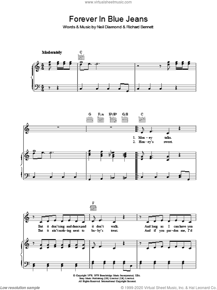 Forever In Blue Jeans sheet music for voice, piano or guitar by Richard Bennett and Neil Diamond. Score Image Preview.