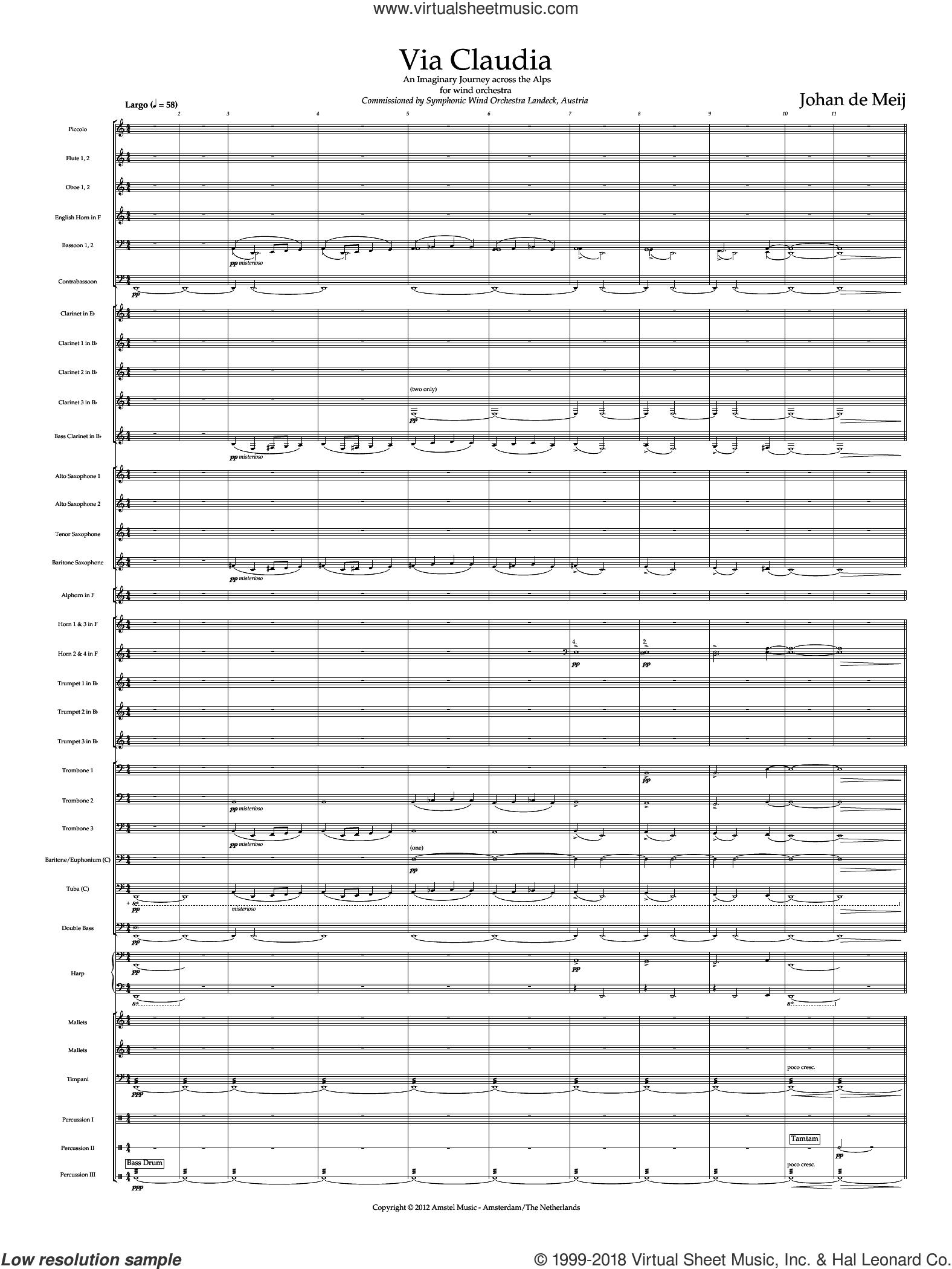 Via Claudia (COMPLETE) sheet music for concert band by Johan de Meij, classical score, intermediate skill level