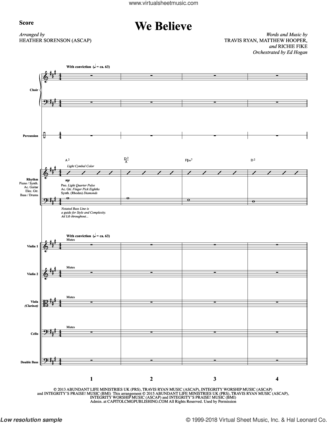 We Believe (COMPLETE) sheet music for orchestra/band by Heather Sorenson and Newsboys, intermediate. Score Image Preview.