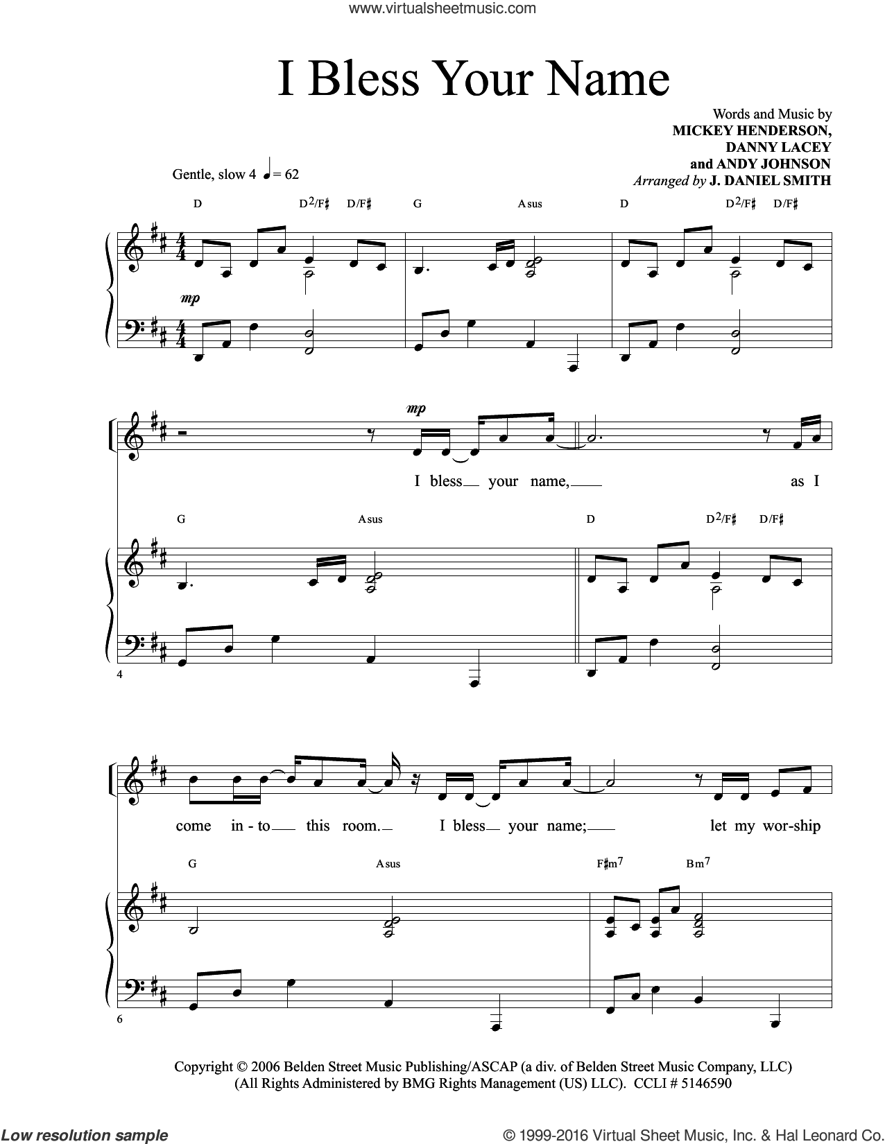 I Bless Your Name sheet music for voice and piano by Danny Lacey. Score Image Preview.