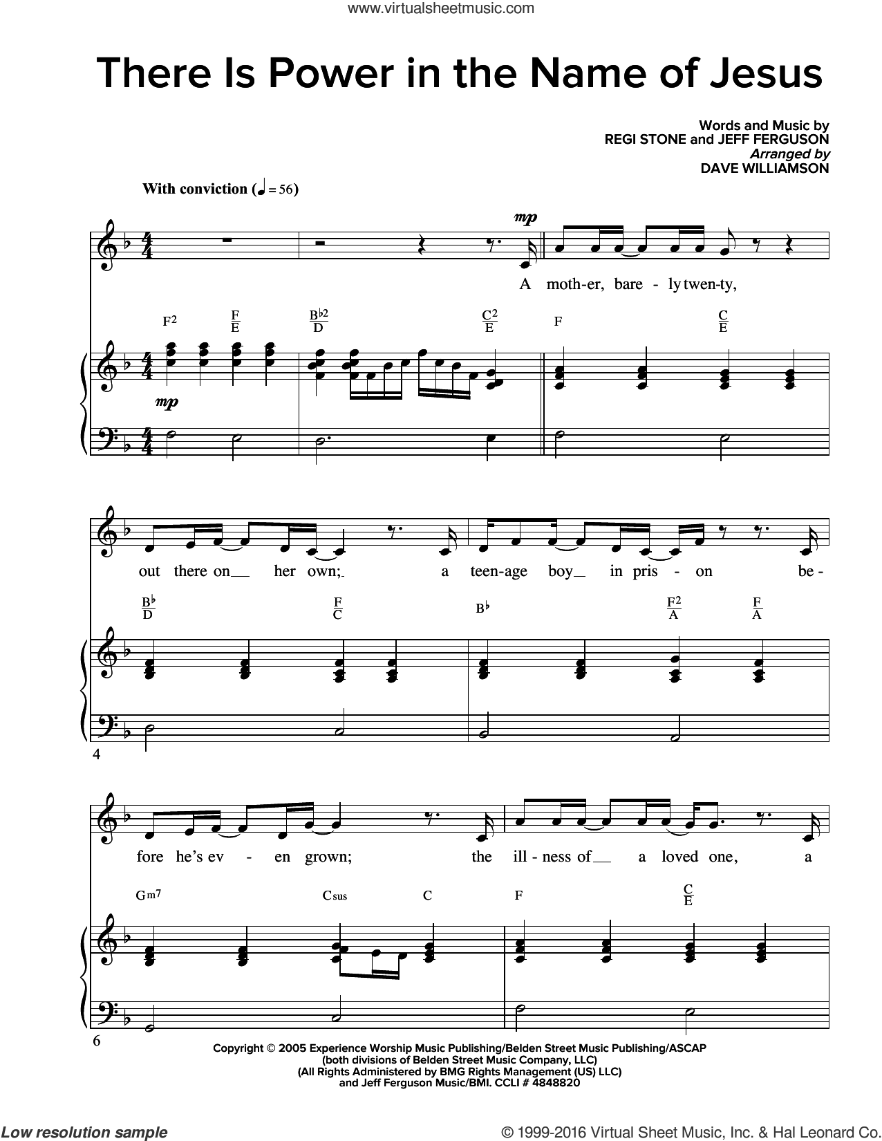 There Is Power In The Name Of Jesus sheet music for voice and piano by Regi Stone and Jeff Ferguson. Score Image Preview.