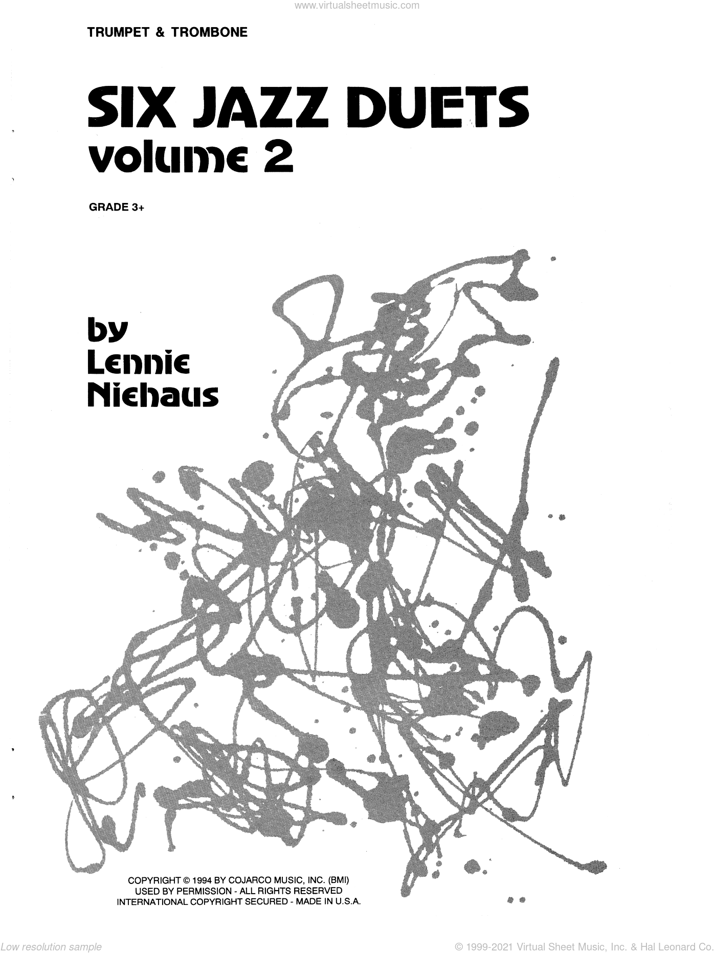 Six Jazz Duets, Volume 2 sheet music for trumpet and trombone by Lennie Niehaus. Score Image Preview.