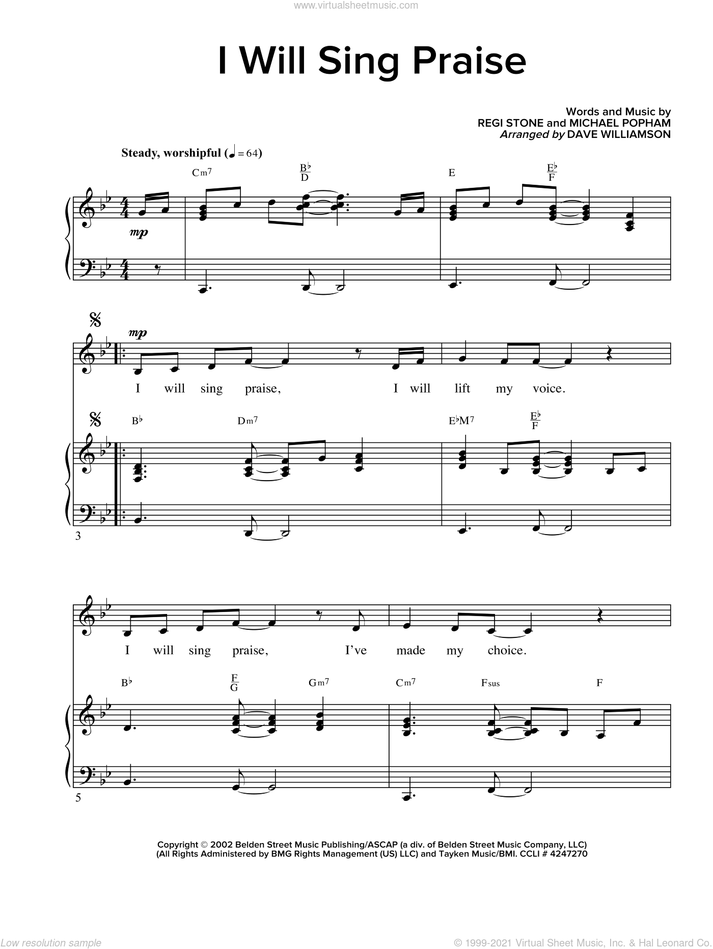 I Will Sing Praise sheet music for voice and piano by Michael D. Popham and Regi Stone, intermediate