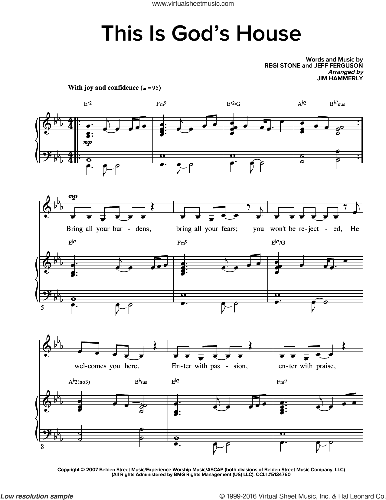 This Is God's House sheet music for voice and piano by Stone and Ferguson. Score Image Preview.
