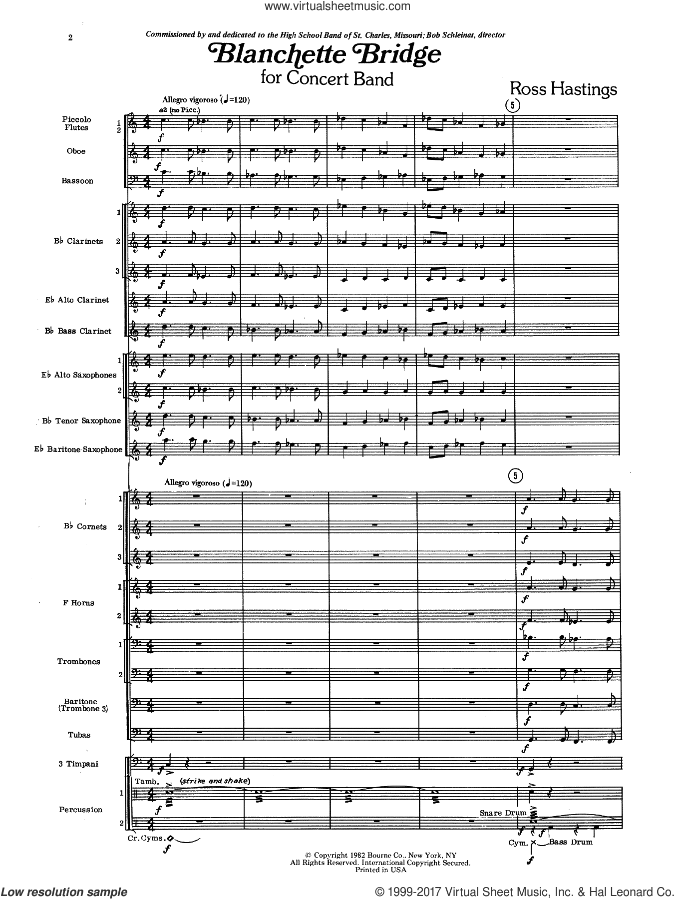 Blanchette Bridge (COMPLETE) sheet music for concert band by Ross Hastings, intermediate. Score Image Preview.