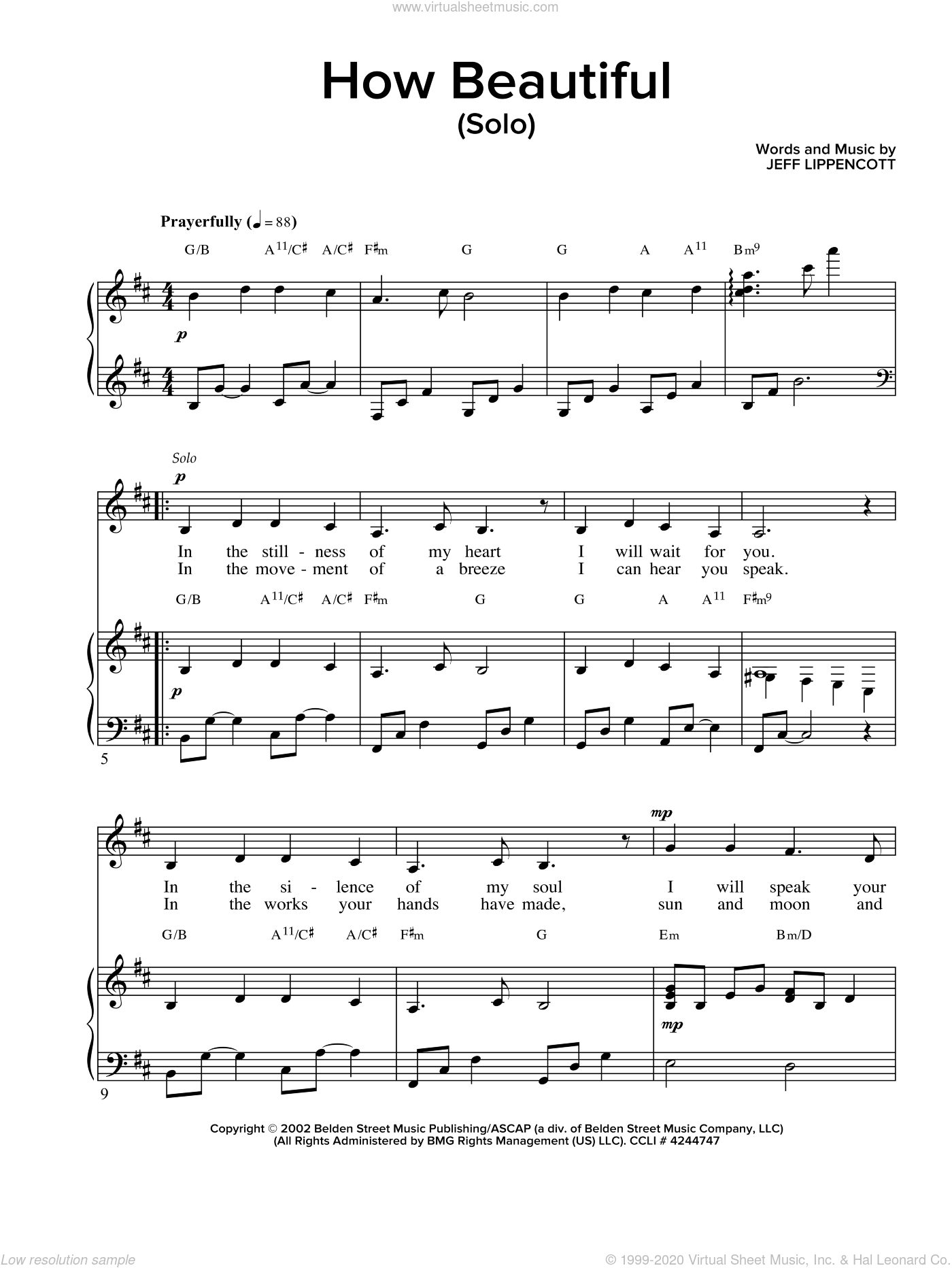 How Beautiful sheet music for voice and piano by Jeff Lippincott. Score Image Preview.