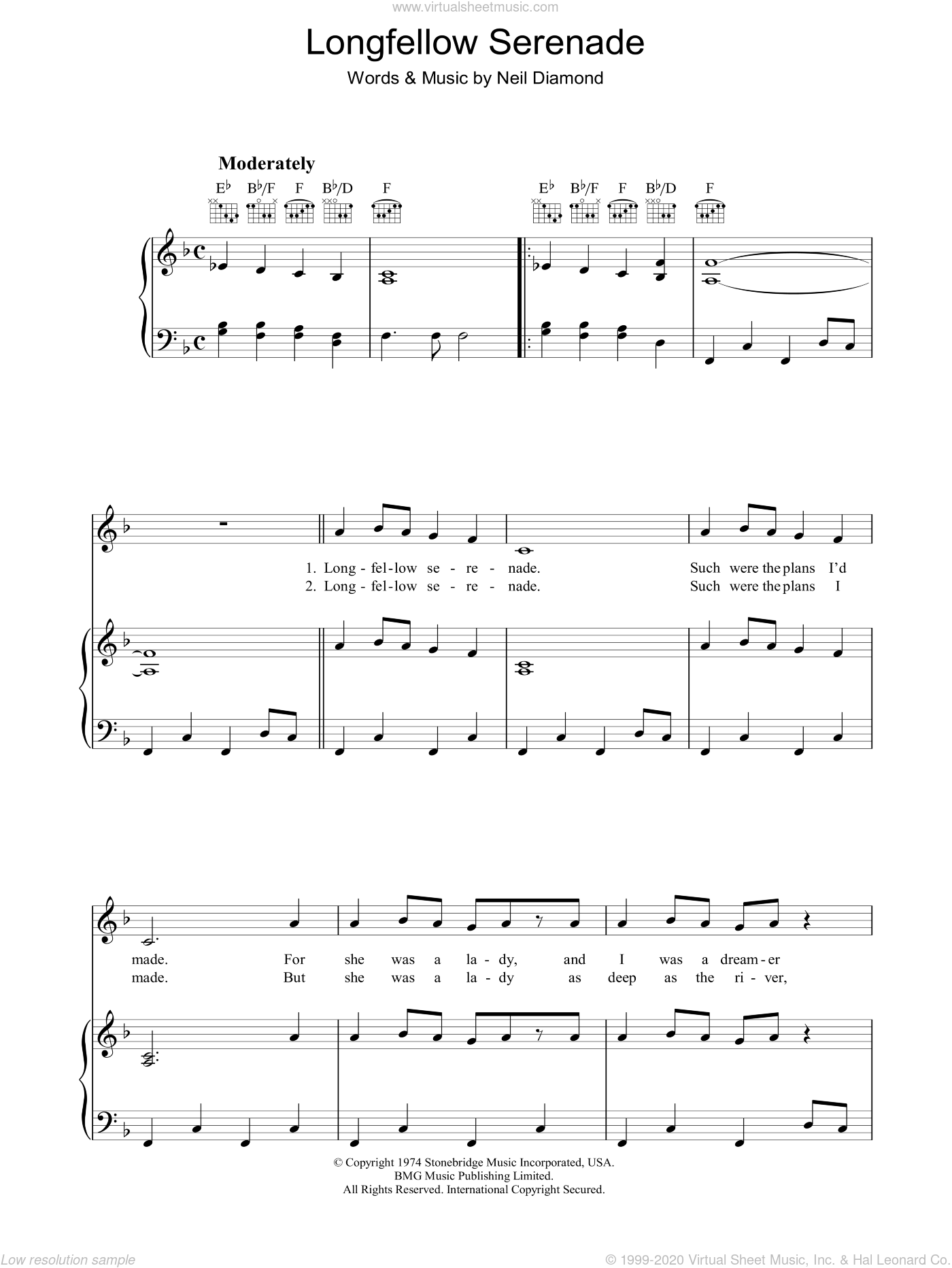 Longfellow Serenade sheet music for voice, piano or guitar by Neil Diamond. Score Image Preview.