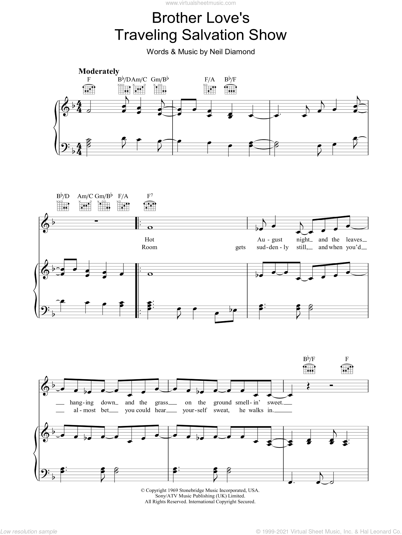 Brother Love's Travelling Salvation Show sheet music for voice, piano or guitar by Neil Diamond, intermediate. Score Image Preview.